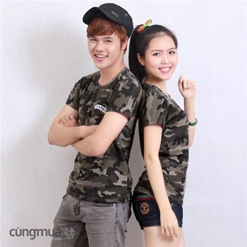 Áo thun đôi kiểu lính thời trang